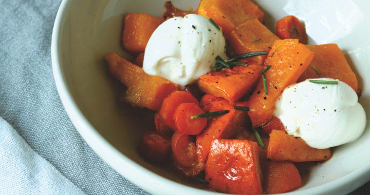 Karotten-Kürbis Ofengemüse mit Mozzarella